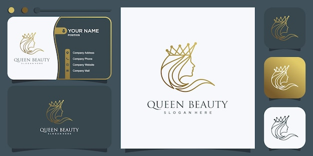 創造的な黄金の線の概念プレミアムベクトルを持つ女性のための女王のロゴ