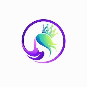 Queen logo with gradient color concept