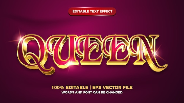 Queen luxury gold 3d editable text effect template style