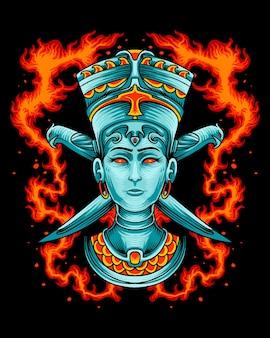 Царица египта с логотипом орлиного ножа