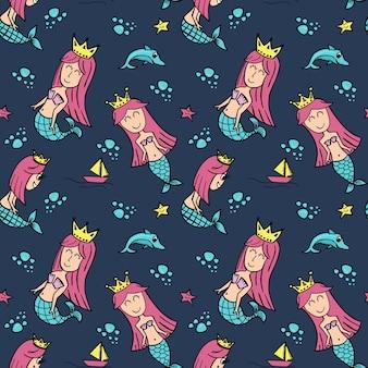 赤ちゃんと子供のためのかわいい描画スタイルと人魚のシームレスなパターンの女王。