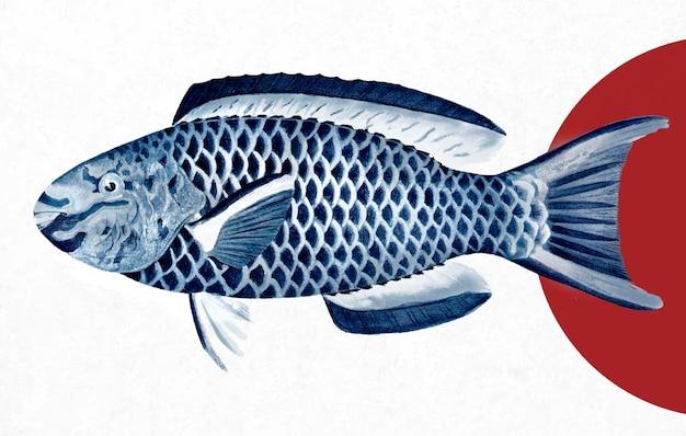 Queen parrotfish 빈티지 벽 예술 인쇄 포스터 디자인은 원본 삽화에서 리믹스합니다.