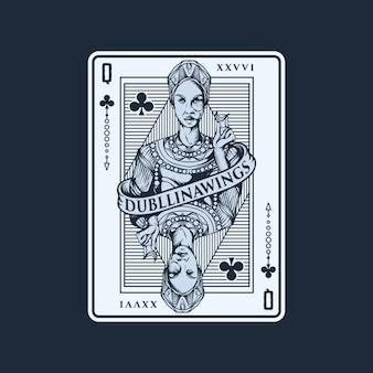 Queen playing card illustration template