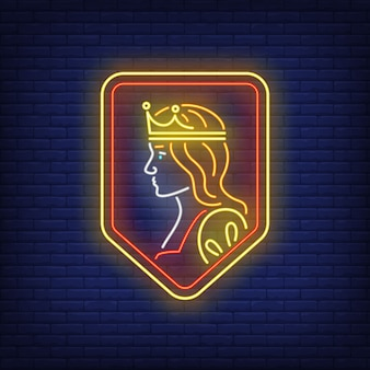 Queen on shield neon sign.