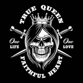 여왕 두개골, 그림. 어두운 배경에 셔츠 디자인. 텍스트는 별도의 그룹에 있습니다.