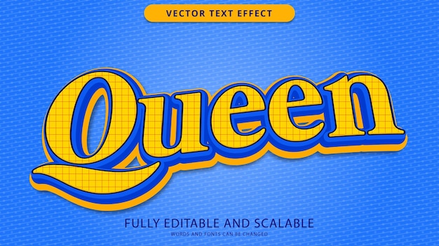 Queen text effect editable eps file