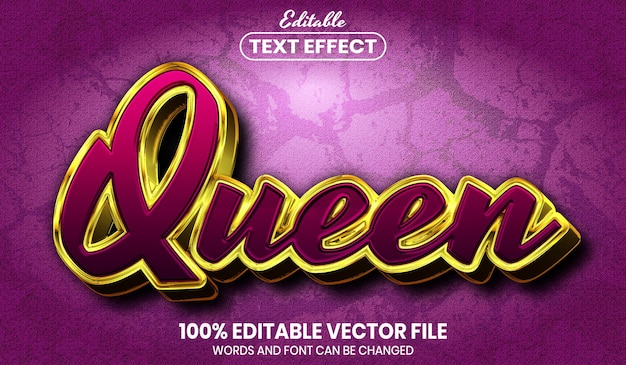Queen text, font style editable text effect
