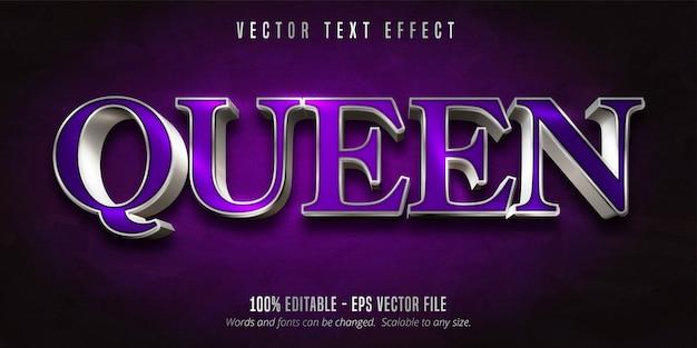퀸 텍스트, 퍼플 색상 및 반짝이는 실버 스타일 편집 가능한 텍스트 효과 프리미엄 벡터
