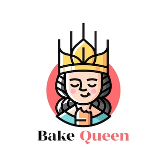 A queen wearing golden wheat crown and eating bread cartoon logo for culinary business