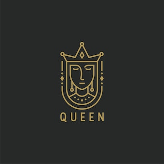 Queen with line style logo template