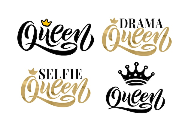 Queen word with crown. lettering set