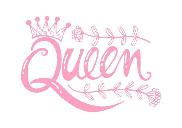 Queen word with crown.
