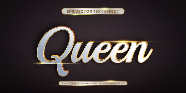 Queen words, text effect style concept
