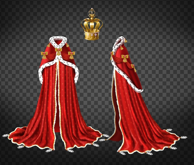 Queens or princes royal robe with red cape and mantle trimmed ermine fur