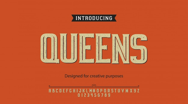Queens typeface.for labels and different type designs