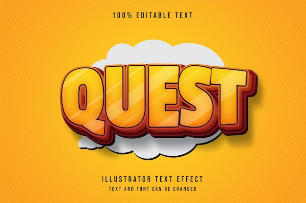 퀘스트, 3d 편집 가능한 텍스트 효과 노란색 그라데이션 주황색 빨간색 스타일 효과