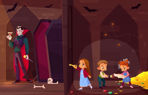 Quest escape room for kids entertainment cartoon  concept.