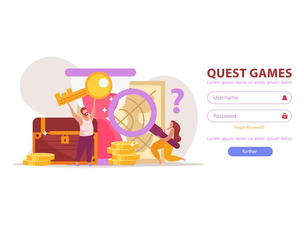 フィールドボタンとゲームの成果を備えたwebサイトログインページのクエストゲームフラットイラスト
