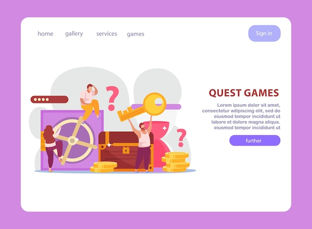 퀘스트 게임 플랫 웹 사이트 디자인 방문 페이지