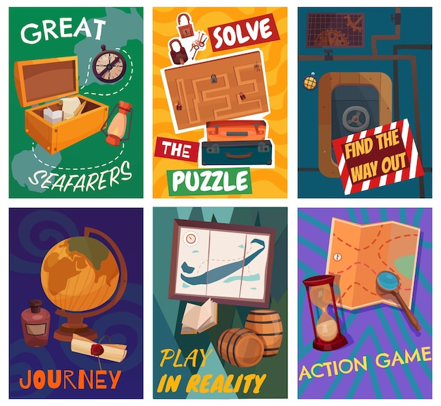 Quest game reality cards set Free Vector