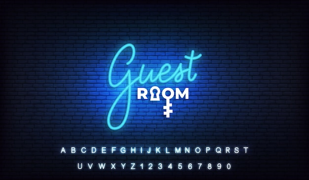 Quest room neon. lettering neon template