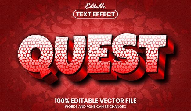 Текст квеста, редактируемый текстовый эффект стиля шрифта