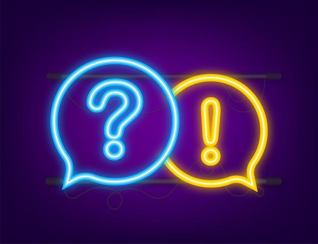 Баннер вопросов и ответов. неоновая иконка. мегафон баннер. веб-дизайн. векторная иллюстрация штока.