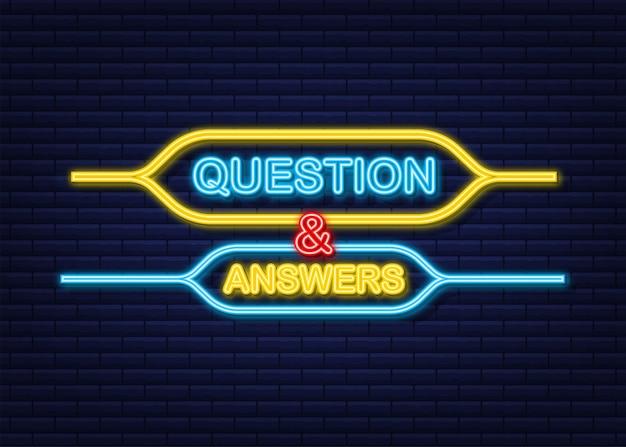 질문 및 답변 거품 채팅 네온 아이콘입니다.