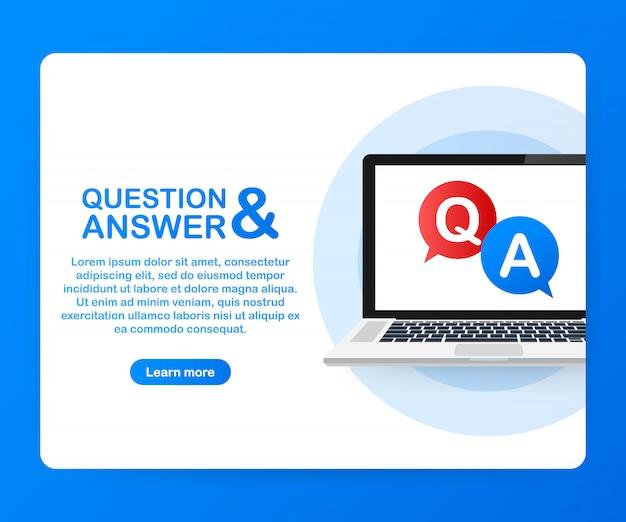 ノートパソコンの画面上の質問と回答のバブルチャット。