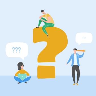 文字の近くに立って、スマートフォン、ラップトップ、デジタルタブレットを使用して若者の質問と答えの概念図。青色の背景に文字記号qとaを持つ平らな女性と男性