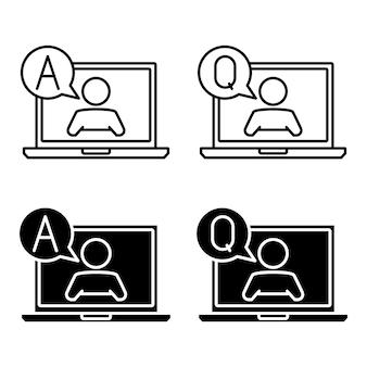 질문 및 답변 지원 아이콘 노트북 컴퓨터의 간단한 평면 기호 노트북에 남자