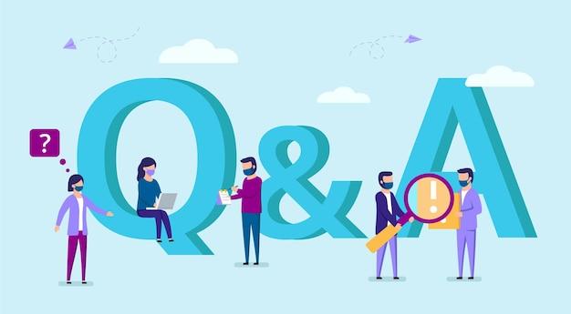 文字の近くに立っているマスクの若者の質問と回答のベクトル概念図。忙しい男性と女性のキャラクターのグループ。漫画スタイルのフラットな女性と文字記号qとaの男性。