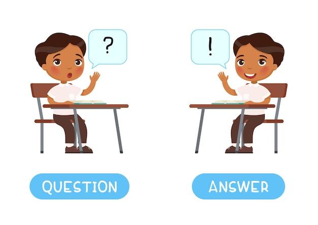 Domanda e risposta antonimi modello di scheda di parole flashcard per l'apprendimento della lingua inglese