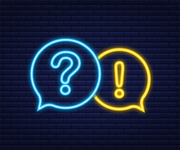 Question and answer banner. neon icon. megaphone banner. web design. vector stock illustration.