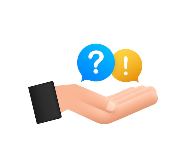 Question and answer bubble chat hanging over hands on white background. vector stock illustration.