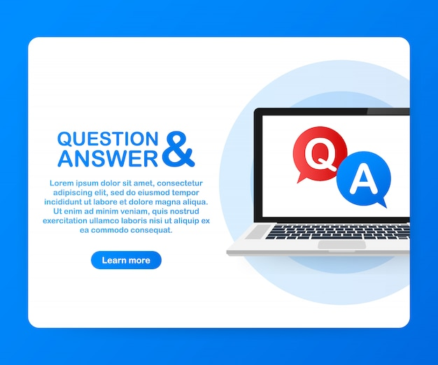 Question and answer bubble chat on laptop screen.