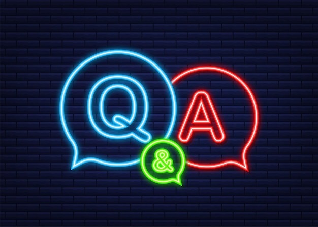 Question and answer bubble chat. neon icon. vector stock illustration.