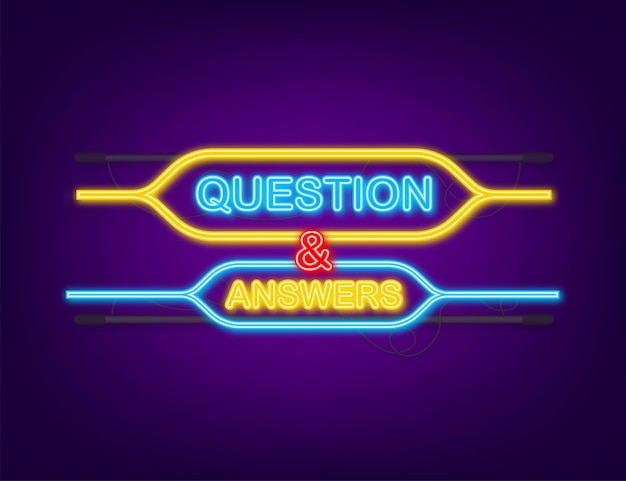 Question and answer bubble chat neon icon.