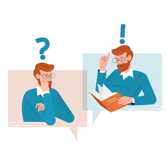 Question and answer concept. people icons with colorful dialog speech bubbles.