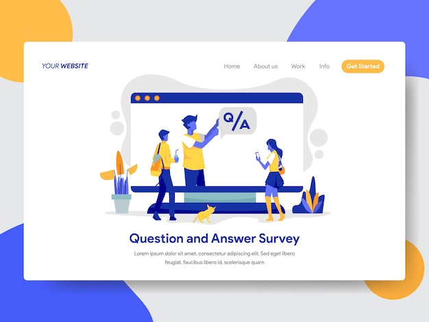 Question and answer survey illustration for web page