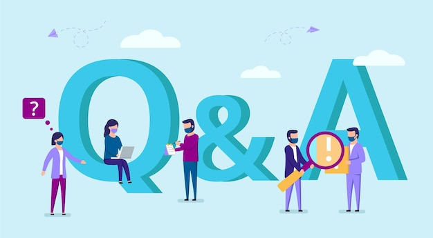 Question and answer vector concept illustration of young people in masks standing near letters. group of busy male and female characters. cartoon style flat women and men with letters symbols q and a.