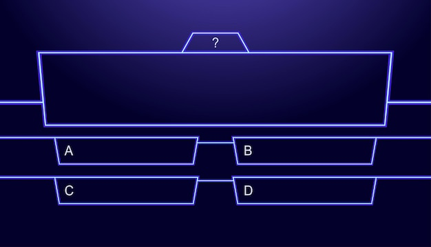 Question and answers vector template neon style for quiz game exam tv show school examination test