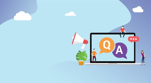 Question and ask or qa for customer support Premium Vector