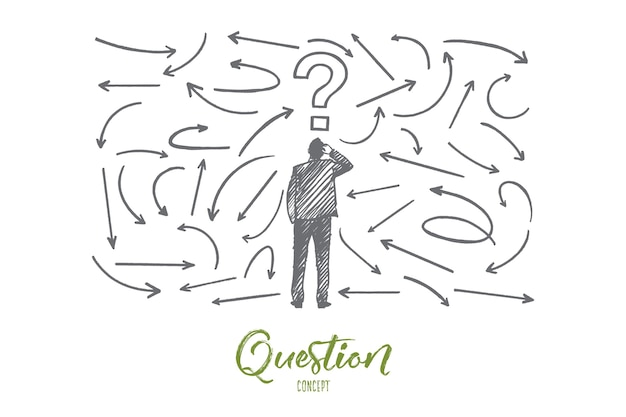 Question concept. hand drawn man near a wall with questions. male person who has to make a decision isolated illustration.