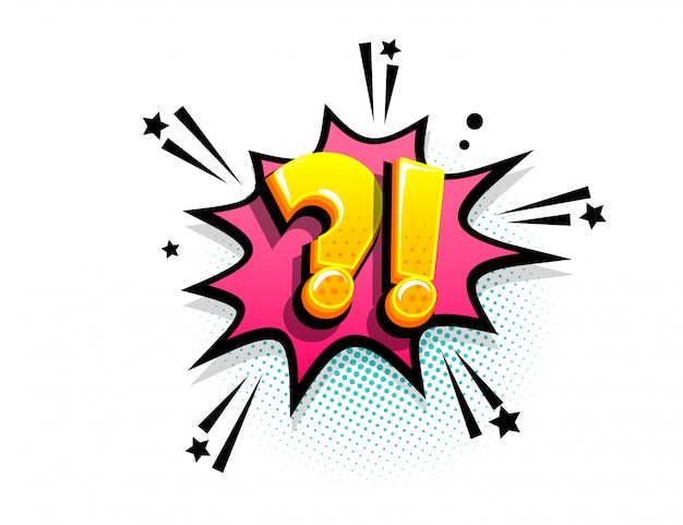 Question and exclamation marks comic text speech bubble