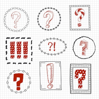 Question and exclamation marks on hand drawn frames