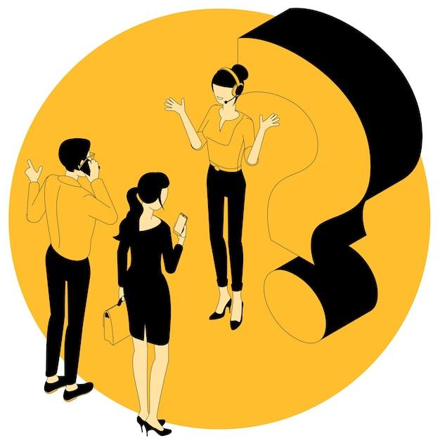 疑問符。若い男性と警告サインを持つ女性のフラットデザインアイソメ図。感嘆符、質問に対する回答、警告、警告および通知。