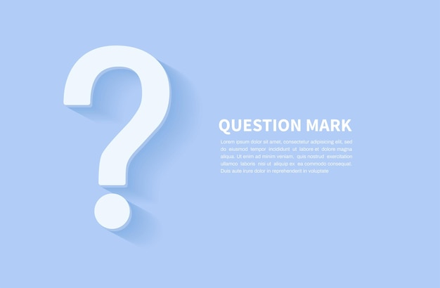 Question mark icon on blue background faq sign space for text