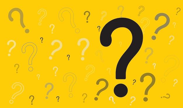 黄色の背景に疑問符アイコンfaq記号ヘルプ記号