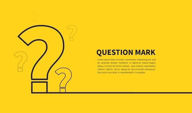 黄色の背景に疑問符アイコンfaq記号テキストのスペースデザイン要素